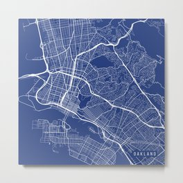 Oakland Map, USA - Blue Metal Print