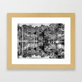 Crossing the Lake - Black & White Framed Art Print