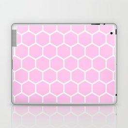 White and light pink honeycomb pattern Laptop & iPad Skin