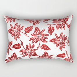 Modern red white faux glitter poinsettia elegant floral Rectangular Pillow
