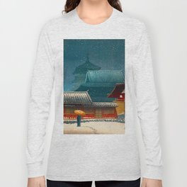 Vintage Japanese Woodblock Print Japanese Red Shinto Shrine Pagoda Winter Snow Long Sleeve T-shirt