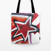 grafitti Tote Bags featuring Grafitti Star by Leslie Philipp