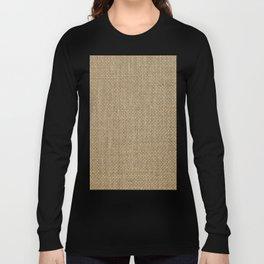 Natural Woven Beige Burlap Sack Cloth Long Sleeve T-shirt
