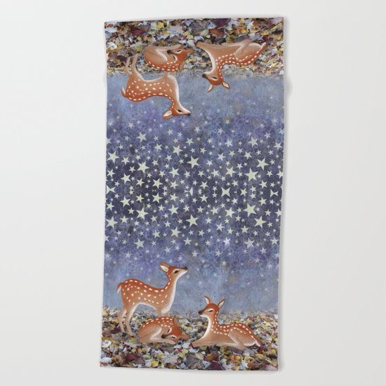 whitetail fawns under the stars Beach Towel