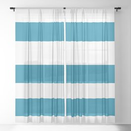 Primary Blue, Wishing Well Blue, Amazing Sky, Blue to the Bone Hand Drawn Fat Horizontal Stripes Sheer Curtain