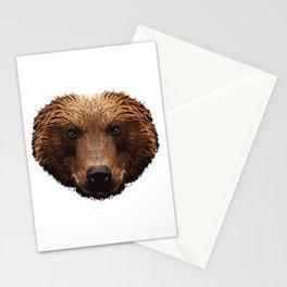 brown bear face, bear, animal Stationery Cards