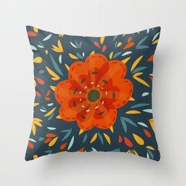 Decorative Whimsical Orange Flower Throw Pillow