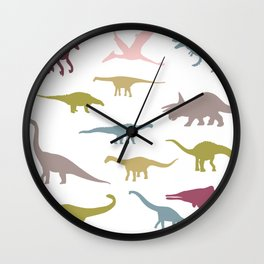 Colorful dinos pattern Wall Clock