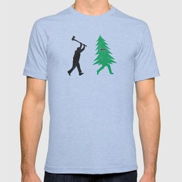 Funny Cartoon Christmas tree is chased by Lumberjack / Run Forrest, Run! T-shirt