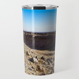 Lone Ocotillo Reaching up to the Blue Sky in front of a Gorge in the Anza Borrego Desert State Park Travel Mug