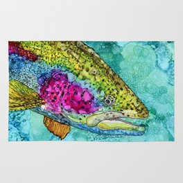 Rainbow Trout - Alcohol Ink Rug