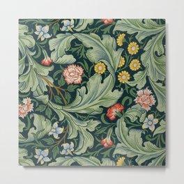 William Morris Leicester Herbaceous Italian Laurel Acanthus Textile Colorful Floral Pattern Metal Print