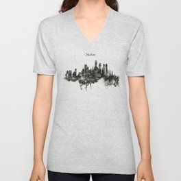 Boston Skyline Black and White Unisex V-Neck