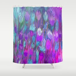 Field of Flowers in Purple, Blue and Pink Shower Curtain