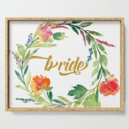 Bride Modern Typography Floral Wreath Serving Tray