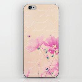 Pastel Pink Flowers mixed media art iPhone Skin