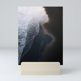 Waves on Black Sand Beach during Sunset in Iceland Mini Art Print