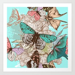 Beautiful print with hand drawn butterflies in vintage style Art Print