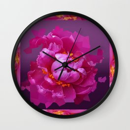 Modern Egg Plant Purple & Fuchsia Peony Abstract in Patterned Pink Frame Design Wall Clock