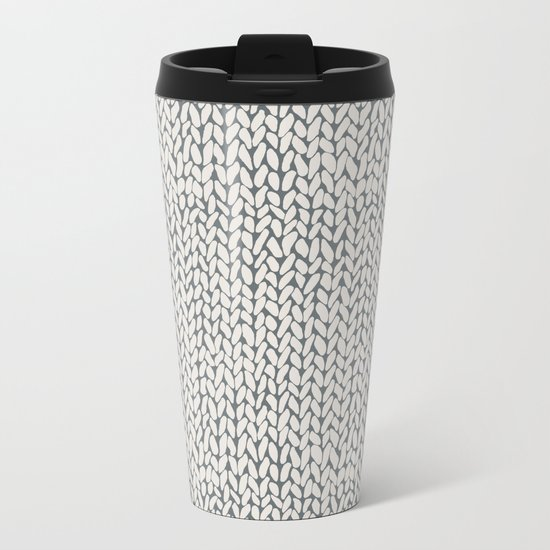 Hand Knit Grey Metal Travel Mug