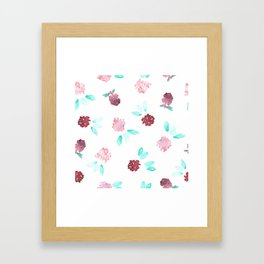 Watercolor Clover Flowers Pattern Framed Art Print