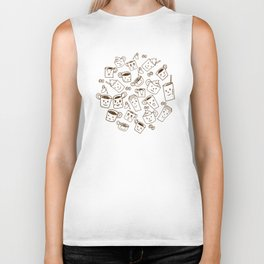 Coffee illustration pattern Biker Tank