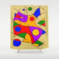kandinsky Shower Curtains featuring Abstract #206 by Ron Trickett