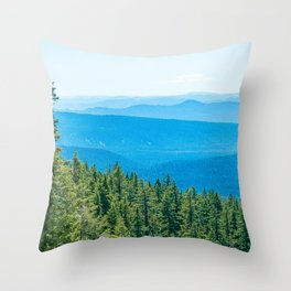 Artistic Brush // Grainy Scenic View of Rolling Hills Mountains Forest Landscape Photography Throw Pillow