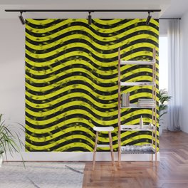 Wiggly Yellow and Black Speckle Pattern Wall Mural