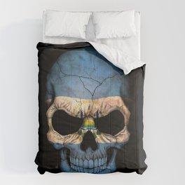 Dark Skull with Flag of El Salvador Comforters