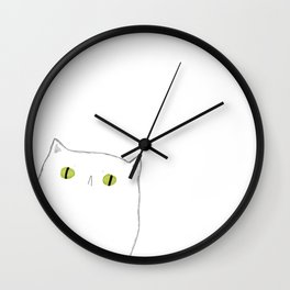 White Cat Face Wall Clock