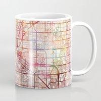 las vegas Mugs featuring Las Vegas by MapMapMaps.Watercolors