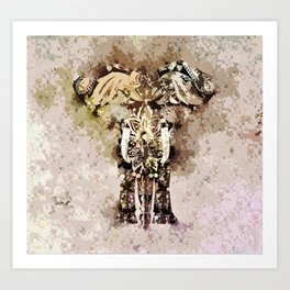 Abstract Elephant Painted Art Print