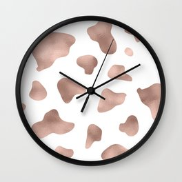 Rose gold cow print Wall Clock