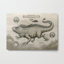 Swimming Dragon Iguana Metal Print