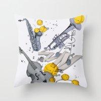 jazz Throw Pillows featuring Jazz Jazz Jazz by Philipp Zurmöhle