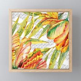 Tropical Watercolor Flowers Framed Mini Art Print