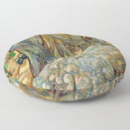 Vincent van Gogh - The Large Plane Trees (Road Menders at Saint-Rémy) 1889 Floor Pillow