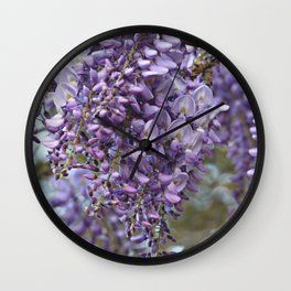 Spring Botanical -- Wisteria Lane, Boldly -- Floral Purple, Lavender and Orchid Landscape Wall Clock