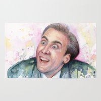 nicolas cage Area & Throw Rugs featuring Nicolas Cage You Don't Say by Olechka