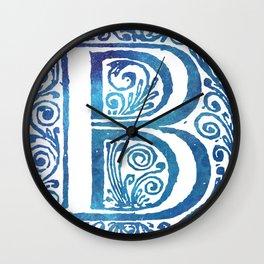 Letter B Antique Floral Letterpress Monogram Wall Clock