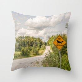 Fox crossing Throw Pillow
