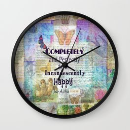 Jane Austen Pride and Prejudice Quote Completely And Perfec Wall Clock