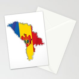Moldova Map with Moldovan Flag Stationery Cards