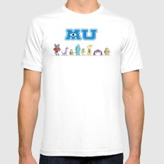 Pixel Monsters University White MEDIUM Mens Fitted Tee
