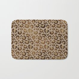Brown Glitter Leopard Print Pattern Bath Mat