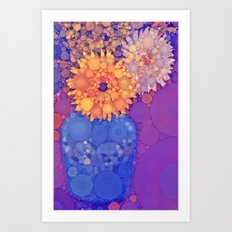 Vintage Flowers in the rain Art Print