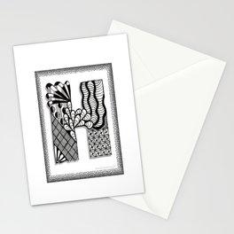 Zentangle H Monogram Alphabet Initials Stationery Cards