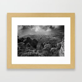 Scenic view of Cape Town from Table mountain. Framed Art Print
