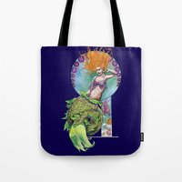 pinup Tote Bags featuring Mermaid Pinup by Theresa Lammon